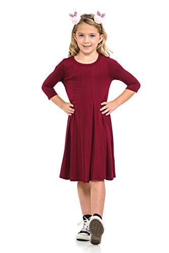 Honey Vanilla Girls' A-Line Trapeze Dress Medium 7-8 Years Burgundy