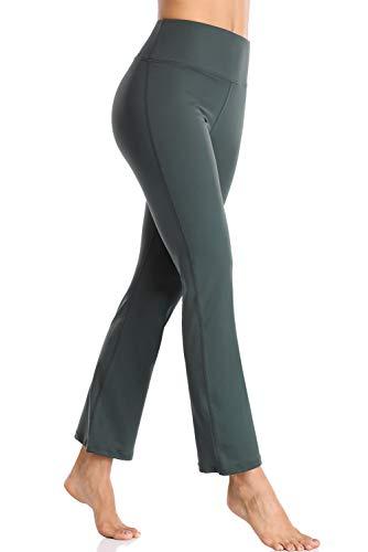 CharmLeaks Women Bootcut Yoga Pants Tummy Control Wide Leg Workout Legging Gray M