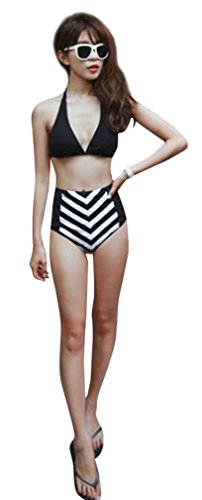 Simplicity® Vintage High Waist Swimsuit Swimwear Bikini, Black White Bottom, M