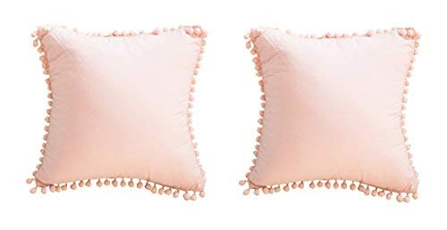Meaning4 European Throw Pillow Covers with Poms Pink 100% Cotton 26 x 26 Set of 2