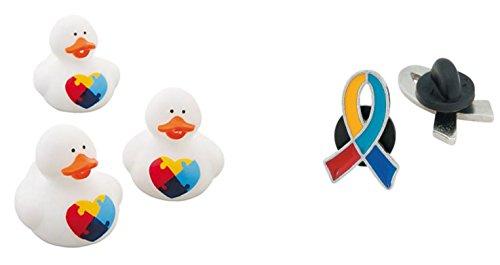 1 Autism Awareness Vinyl Rubber Duck + 1 Free Autism Awareness Enamel Pin - Show Your (Enamel Duck)