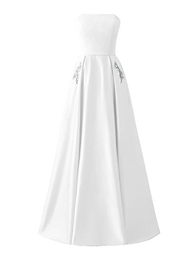 A-line Prom Dress Long Strapless Beaded Satin Formal Dresses with Pockets White,12