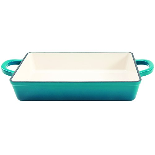 - Crock Pot 112008.01 Artisan 13 Inch Enameled Cast Iron Lasagna Pan, Teal Ombre