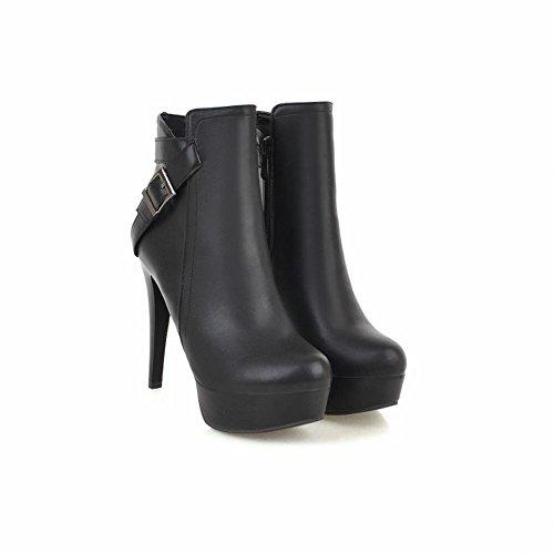 Modern Buckle Dress Boots High Concise Black Women's Platform Carolbar Heel q56PPY