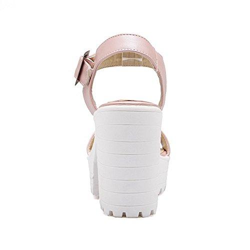 AllhqFashion Damen Weiches Material Rein Schnalle Offener Zehe Hoher Absatz Sandalen mit Hohem Absatz Pink