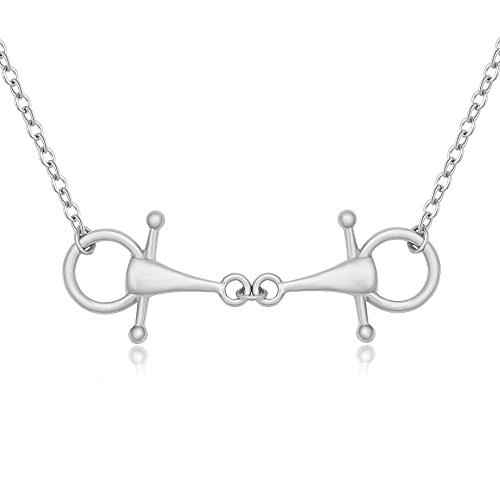 MANZHEN Snaffle Bit Necklace for Horse Lover Equestrian Jewelry (Silver)