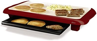Oster Titanium Infused DuraCeramic Griddle with Warming Tray, Candy Apple Red CKSTGRFM18MR-TECO