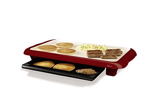 Oster CKSTGRFM18MR-ECO DuraCeramic Griddle with Warming Tray, Candy Apple Red (Griddle Tray)