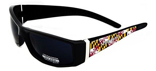 Maryland Design Black Frame/Black Lens 60mm Sunglasses Item # - Sunglasses Maryland Flag