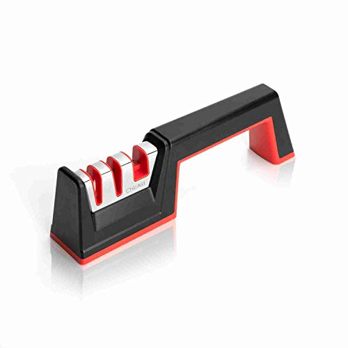 - Knife Sharpener, ChicAid 2-Stage Manual Kitchen Knife Sharpening Tool with Scissor Sharpener, Non-Slip Base, Ergonomic Design, Safe and Easy to Use