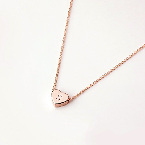 Heart Initials Necklace (Rose Gold Dainty Jewelry Initial Necklace Valentine's Day Gifts for Her Personalized Necklace Heart Necklace - FHN (S))