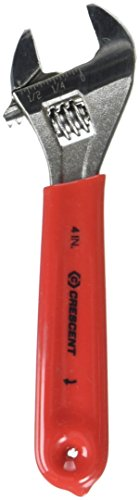 Crescent AC24CVS 4 Inch Hex Jaw Cushion Grip Chrome-Finished Adjustable Wrench with Lanyard Hole