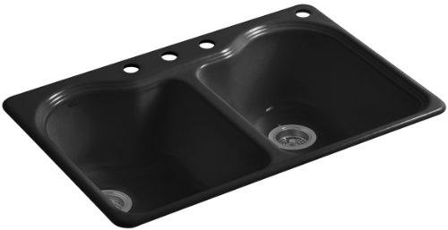 Kohler K-5818-4-7 Hartland Self-Rimming Kitchen Sink with Four-Hole Faucet Drilling, Black Black
