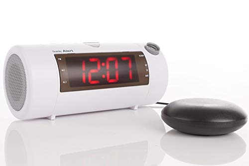 The Sonic Blast - Super Loud Projection Alarm Clock with Bluetooth Speaker & Sonic Bomb Super Shaker (White) (Alarm Clock Boom Sonic)