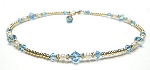 DAMALI Gold-Filled Ankle Bracelets Blue Aquamarine Swarovski Crystals Beaded March Birthstone Jewelry