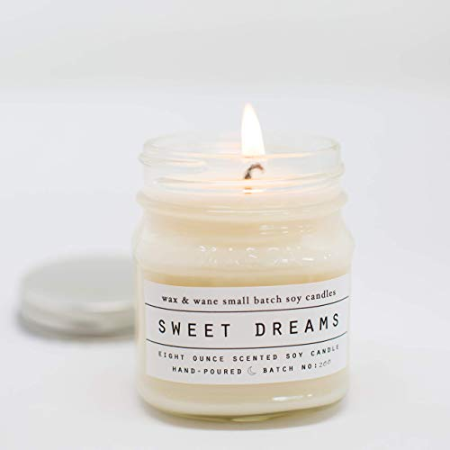 (Sweet Dreams Lavender Scented 8 oz Mason Jar Soy Candle )