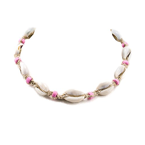 with Cowrie Shells and Pink Fimo Beads (Cowrie Shell Necklace Choker)