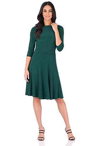 Rekucci Women's Flippy Fit N' Flare Dress with 3/4 Sleeves (4,Hunter Green)
