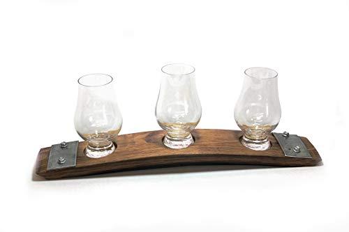 Premium Barrel Stave Whiskey Flight, Scotch Flight, Bourbon Flight, Crystal Glencairn Glass Flight (Dark Walnut) ()