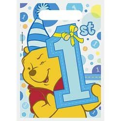 Pooh's First Birthday Boy Treat Sacks, 8ct - Party Folded Treat Sack