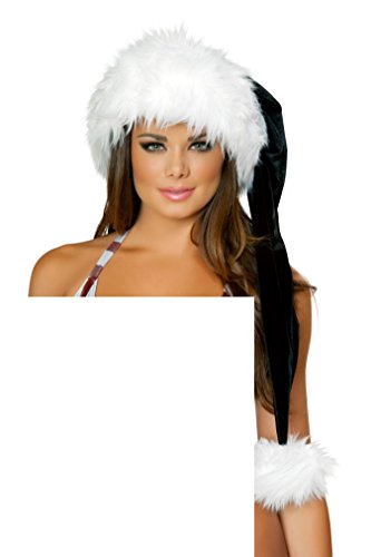 Sexy Holiday Christmas white black deluxe Santa hat(AS SHOWN,ONE SIZE) -