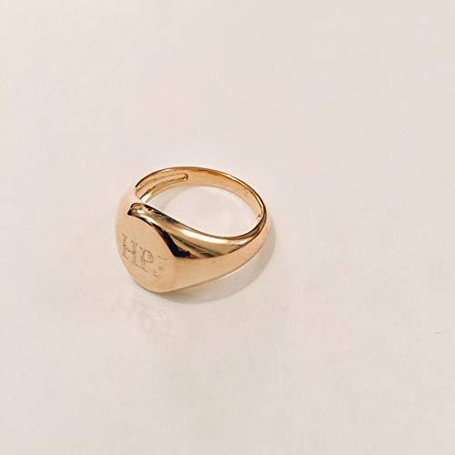 Engravable Mens /& Womens Pinky Ring Gold Oval Shape Monogram Signet Ring Handmade Designer
