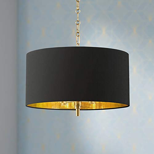 20 Wide Warm Gold Pendant Light with Black Shade – Barnes and Ivy