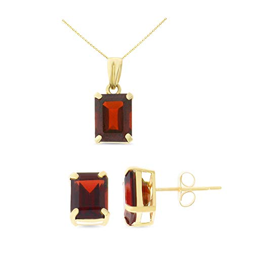 14K Yellow Gold 6 x 8 mm. Emerald Cut Genuine Garnet Earrings + Pendant Set With Square Rolo Chain