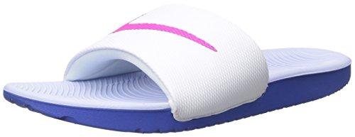 NIKE Women's Kawa Slide Sandal, White/Fire Pink/Comet Blue/Aluminum, 11 B(M) US