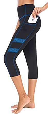 Neonysweets Women's Workout Leggings Phone Pocket Running Yoga Pants - - Small