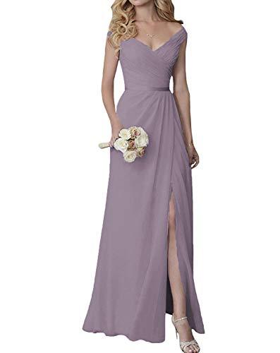Bridesmaid Dresses V-Neck Slit Long Chiffon Formal Dress Dusty Lavender