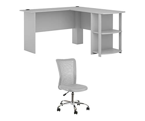 Ameriwood, L-Shaped Office Desk with Side Storage, Dove Gray Bundle with Mainstays Adjustable Mesh Desk Chair, Gray
