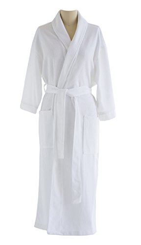 - Waffle Knit Bathrobe - Lightweight, Super Soft Regent Classic Robe - Hotel & Spa Quality - Perfect for Women and Men - White - XXL