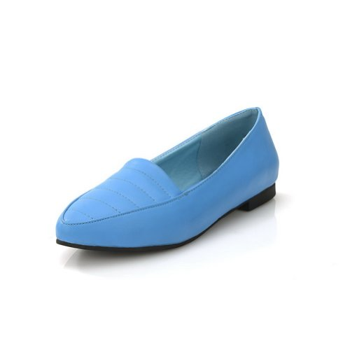 AmoonyFashion Womens Closed Pointed Toe PU Soft Material Solid Flats Blue