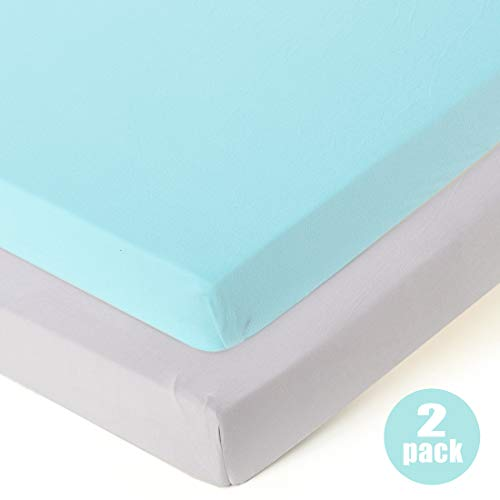 Fitted Playard Sheets - 2 Pack Mini Crib Sheet Set,Pack n Play Mattress Cover, Stretchy Ultra Soft,Teal/Grey