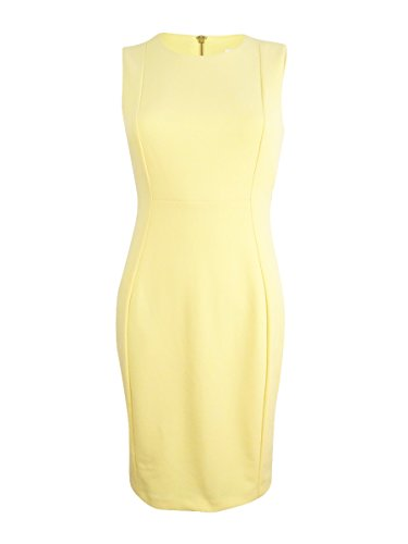 Women's Calvin Sheath Dress Sleeveless Klein Petite Popcorn Crepe Scuba rBfqrw5Y