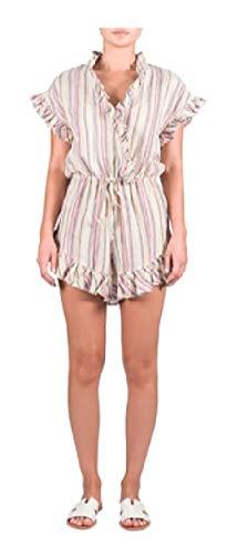 - ELAN Women's Short-Sleeve V-Neck Ruffle Hem Linen Romper (Multi-Stripe, Large)