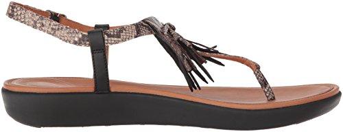 Fitflop Dames Tia Fringe Teen-string Platte Sandaal Taupe Snake / Zwart