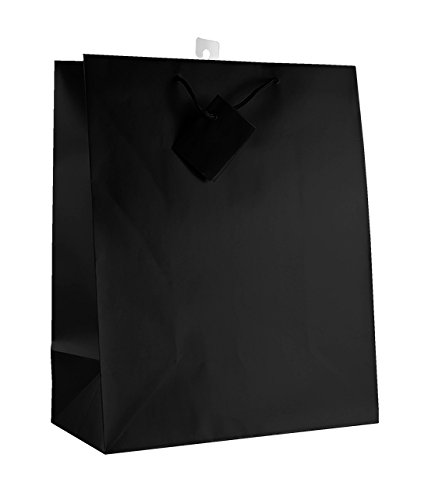 12-PC Solid Color Gift Bags, Matt Laminated, Black Color