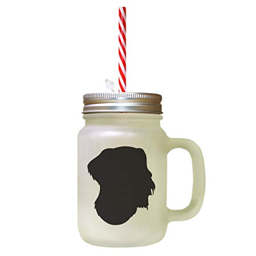 Black German Wirehaired Pointer Silhouette Frosted Glass Mason Jar With Straw