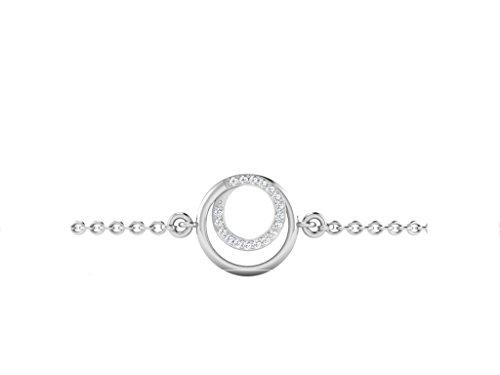 Libertini bracelet argent 925 femme serti de Diamant en forme de Rond