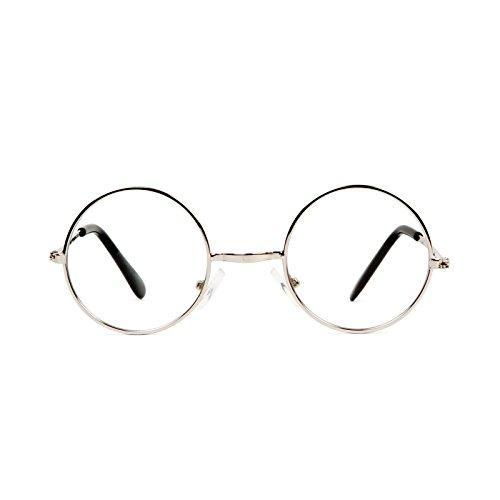 Gravity Shades Circular Frame Style Circular Silver Frame Clear Lens ()