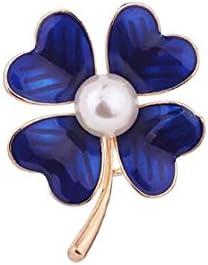 幸運を呼ぶ 青のクローバー パール ブローチ ラッキー ジュエリー アクセサリー