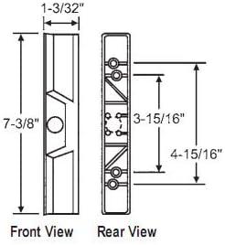 STB Patio puerta corredera de cristal fuera Pull para interior Bloqueo Mango Set, plástico, negro, 3 – 15/16