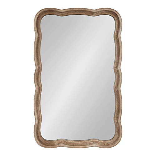 Kate and Laurel Hatherleigh Decorative Shabby Chic Scallop Wood Wall Mirror, Rustic Brown, -