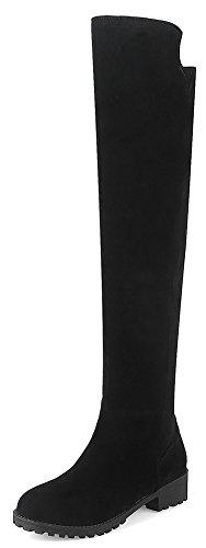 IDIFU Women's Dressy Low Chunky Heel Faux Suede Side Zipper Over Knee Boots (Black, 4 B(M) (The Weather On Halloween 2017)