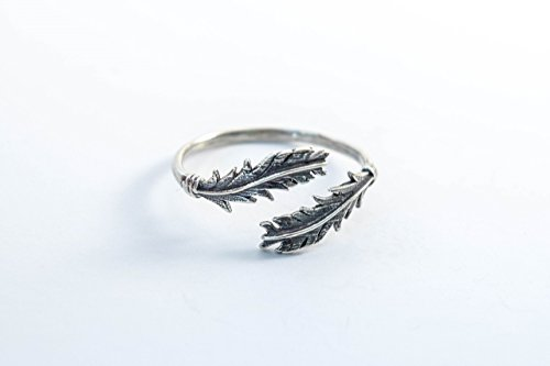 Sterling Silver 925 Feather Ring Adjustable Size Handmade Wrap Band Tribal - Nectar Band