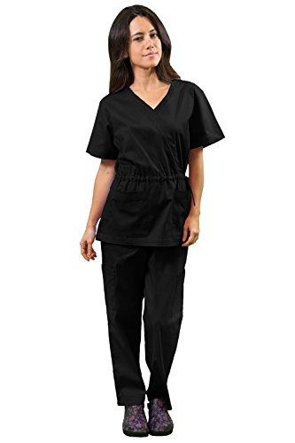 Womens V-neck Lab Jacket (Women's Super Stretch Medical Scrubs set SCR44805 BLACK)