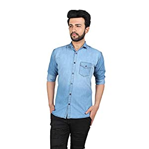 kandy Button Pocket Denim Casual Solid Shirt