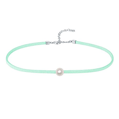 PAVOI Premium Velvet Choker Genuine AA+ Quality Freshwater Pearl Necklace for Women (Mint green) - Mint Green Freshwater Pearl